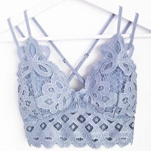 Boho Adjustable Stretchy Soft Lace Blue Bralette